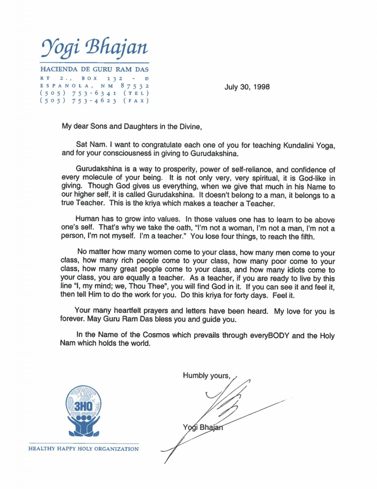 YB letter on Gurudakshina